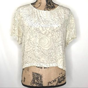 ANTHROPOLOGIE Postmark Etched Floral Silk Top 0